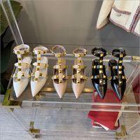 2021 роскошный дизайнерский дизайнер мода гвоздики сандалии натуральные кожаные насосы слингберальные дамы сексуальные высокие каблуки мода заклепки обуви вечеринка высокий каблук