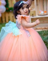 2022 Kids Formal Wear Jewel Neck Applique Beaded Flower Girls' Dresses for Weddings Ball Gown Tulle Pageant Party Vestidos