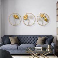 Handgemachte Wohnkultur Kunst Wand Hanging Metall Ginkgo Blatt Kreative Goldene Überzogene Blätter für Schlafzimmer Wohnzimmer Restaurant
