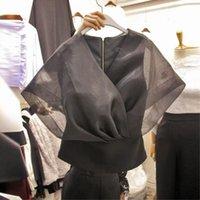 Women's Blouses & Shirts Elegant Mesh Patchwork Chiffon Black Women Blouse Summer 2021 V-Neck Batwing Sleeved Slim Short Office Lady Pulls T