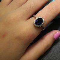 Princesa Diana William Kate Middleton's 3CT Azul Sapphire Anéis de Noivado de Dedo Luxo 925 Anéis de Prata Esterlina para Mulheres