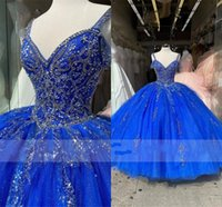 Royal Blue Crystal Beaded Prom Quinceanera Dresses Embroidered Spaghetti V-neck Tulle Corset Back Ball Gown Sweet 15 Girls Party Formal Gowns