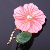 Pins, Brooches FARLENA Original Design Handmade Natural Shell Flower Pins For Women Vintage Freshwater Pearl Brooch
