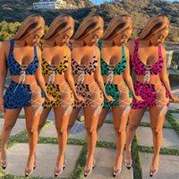 Yaz kadın Leopar Baskılı Mayo Seksi Bayanlar Kolsuz Kırpma Tops Sutyen + Şort İki Parçalı Mayo Giysileri Lace Up Outfits G36YWWY