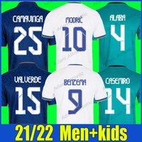 Real Madrid Modric Futbol Formalar Oyuncu Version Casemiro Alaba Camavinga Benzema Futbol Gömlek Rodrygo Vini Jr. Kroos Valverde D.Ceballos Jersey Erkekler Kids Kiti 21/22