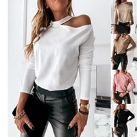 Women's T-Shirt 2021 Sexy Women Solid Color Slim T-Shirts Hollow Out Design Off Shoulder O-Neck Long Sleeve Casual Pullovers Top Autumn