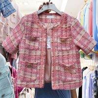 Vintage Femmes Cardigan Coat 2021 Été Coréen Chic Dames Mode Casual Plaid Slim Tweed Veste Femelle Woolen Outwear Vestes pour femmes