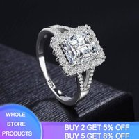 Cluster Rings YANHUI Fine Princess Cut Ring 925 Silver 5A Zircon CZ Luxury Wedding Band For Women Bridal Statement Party Jewelry JZ084