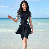 보수적 인 수영복 여성 짧은 소매 수영복 플러스 사이즈 수영복 이슬람 수영복 Boerkini 210625