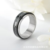 New Romantic Corner Heart Beat Love Rings Men Women Black Spinner Bride Couple Rvs Jewelry Presents