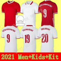 2021 الرجال + أطفال كيت كرة القدم جيرسي المنزل بعيدا 21 22 أحمر أبيض piszczek milik بولندا الأطفال الشباب لواندوفسكي الفانيلة قمصان كرة القدم