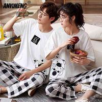Nachtwäsche Paar Männer und Frauen Matching Home Anzüge Baumwolle PJS Chic Chinesisch Wort Drucke Freizeit Nachtwäsche Pyjamas für Sommer 210812