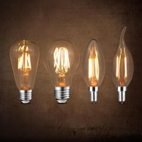 Ampuller E27 E14 Retro Filament LED Ampul 220 V Edison Lambası Spiral Işık C35 C35L A60 ST64 Avize Restoran Kapalı Dekor Aydınlatma