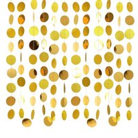 Gold Circle Dots Garland Party Decorations Streamers Hanging Decor Backdrop Bunting For Wedding Baby Shower  Year Decoration