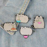 Creative Dessin animé Design Broche Set Fat Cat Manger Nooodle Pistolet Noir Eco Éco Éco Éco Écrans Alliage Broches pour Girls Cadeau Bijoux Badges Sac 1597 Q2