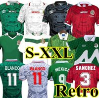 1998 ريترو المكسيك لكرة القدم جيرسي كم طويل خمر 2006 1995 1986 1994 قميص كأس العالم بلانكو هيرنانديز كلاسيكي لكرة القدم
