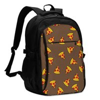Backpack USB Charge Women Funny Pizza Piece Student Letters Print School Bag Teenager Girls