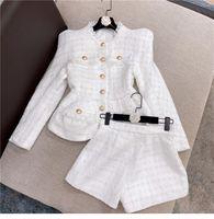 Personaggio della moda Top Quality Design originale Giacca da donna in due pezzi Bright Seta Tweed Cappotto Fringe Filato con pantaloncini