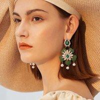 Dangle & Chandelier 2021 Statement Tassel Drop Earrings Simulated Pearl Luxury Crystal Flower For Women Fashion