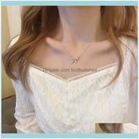 Necklaces & Pendants Jewelryclavicle Chain Bowknot Necklace Light Luxury Niche Design Sense Neck And Wind Aessories Chains Drop Delivery 202