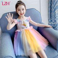 Summer Fashion Unicorn Embroidery Flower Rainbow Dress For Children Princess Girls Sleeveless Kid Clothes 210516