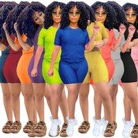 Xs 3xl verano mujeres chándalsuits yoga sexy camiseta pantalones cortos de 2 piezas conjuntos de talla grande trajes de joggers de color sólido Color Casual Ropa Plain Capris 4540