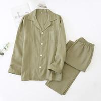 100% Cotone Men's Pigiama Set Set Stile semplice Manica Full Bull Bottone Pantaloni Casual Man Man Sleepwear Big Size Kpacotakowka