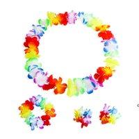 Красочные Гавайские Цветы Тропическое Гарнословное Ожерелье Браслеты Оголовье Набор 4 шт. Тропический пляжный костюм для вечеринки украшения HWF6661