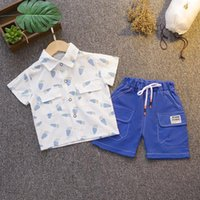 مجموعات الملابس الصيف الأطفال أزياء طفل الفتيان الجزرة تماما طباعة طية صدر السترة قميص + الأدوات السراويل طفل الرضع الفتيات الملابس
