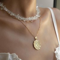 Pendant Necklaces LOVOACC Hip Hop Clear Arcylic Stones Necklace For Women Gold Color Thin Chain Head Portrait Coin Choker 2021