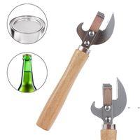 Newmultifunction Easy Manual Corte lateral Cerveza de metal abrelatas de botella de acero inoxidable Mango de madera CAN HERRAMIENTAS DE COCINA DE COCINA EWD7536