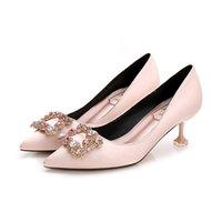 Dress Shoes 2021 Luxury Women Wedding High Heels Rhinestone Stile Silk Pumps Pointed Toe Party Sexy Thin Autumn