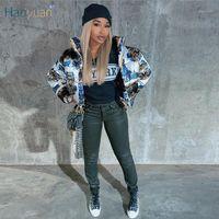 Haoyuan мода повседневная пиджака для женщин для женщин-стритюна с длинным рукавом зимняя одежда теплые парки густые пузырьковые пальто