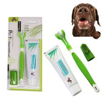 Pet Toothbrush Toothpaste Kit Three Sided Dog Brush Addition Bad Breath Tartar Teeth Care Dog Cat Cleaning Mouth Dog toothbrush