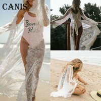 Cover Up Women Boho Fringe Lace Kimono White Beach Cape Tops Blouses Bikini Long Sunscreen Sun Protection Shirt Women's Swimwear