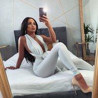 Gümüş Tel Kadınlar Tulumlar Tulumlar Kulübü Seksi Ince Backless Skinny Koyu V Boyun Kolsuz Tulum Moda Bayan Tulumlar