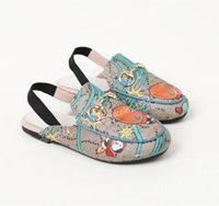 2021 дизайнерские детские тапочки мокасины натуральные кожаные сандалии мальчики девушки повседневные туфли принстаун металлические цепные слайды