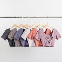 2021 요가 여성 스포츠 티셔츠 브래지어가있는 셔츠 셔츠, 짧은 건조 짧은 소매 피트니스 옷