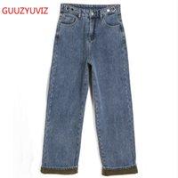 Guuzyuviz Jeans larga gamba donna donna alta vita plus size pantaloni in denim allentata casual addensare velluto vintage fidanzato jeans pantaloni