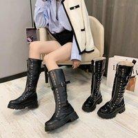 Rim Kadın Çizmeler Diz Yüksek Punk Tıknaz Goth Çizmeler Platformu Takozlar Ayakkabı Patent PU Deri Kemer Toka Moda Topuklu Yeni 4312
