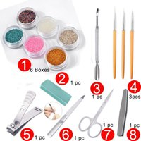 Nail Art Kits Acrylic Manicure Set With Glitter Powder Micro Caviar Beads Stainless Steel Soft Pusher Decoration Tool