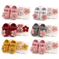 First Walkers 0-18M Born Baby Girls Boys Crib Shoes Cotton Flowers Hook Soft Cork 6 Colors+Headband