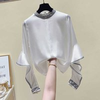 Autumn Winter Silk Shirts Female Solid Cooked Satin Full Stand Top Blouse Women 210615