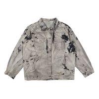 Veste de jeans lavée à trous peints rétro pour hommes et femmes surdimensionnées Streetwear Casual Denim Coath Coather Loose Harajuku Jean