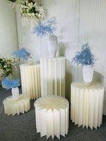 4 قطع حزب الديكور ورقة للطي اسطوانة الركيزة عرض الرفيات الزفاف diy الحلوى كعكة الجدول حامل الأعمدة