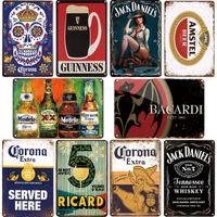 Corona bacardi خمر البيرة المعادن البلاك تسجيل شريط جدار ديكور المنزل علامات الرجعية المعادن المشارك القصدير توقيع رجل كهف حانة أطقم المطبخ