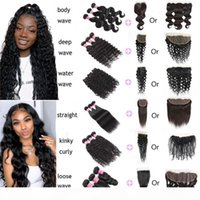Meetu Body Straight Water Loose Deep Natural Wave Kinky Curly Human Hair Bundles With Closure 4*4 13x4 Lace Frontal Human Hair Extensions