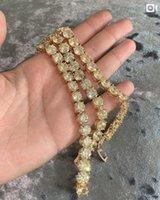 Luxury Engagement Wedding Link Chain 18K yellow gold filled big 8mm Round Simulated Diamond Bracelet For Women Men Topaz gemstone Jewelry 18cm