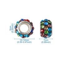 100 pcs 12mm polímero argila rhinestone grande orifício europeu beads rondelle cor misturada para jóias fazendo artesanato diy 11x7mm buraco 5mm