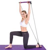 Barra de barra de ioga portátil Pilates com faixa de resistência Home ginásio muscular tonificação barra fitness esticar esportes corpo exercício exercício 1752 z2